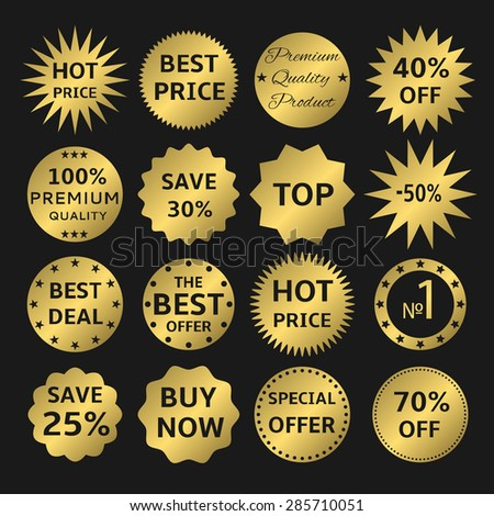 Golden label set: best, hot price, VIP, buy now, premium quality, best deal, best offer icons - stock vector