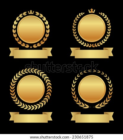 golden label with ribbon banner icon - stock vector