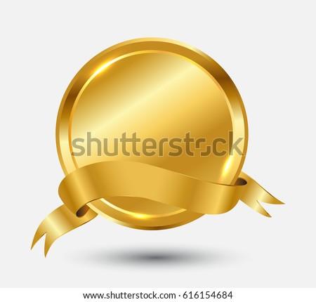golden label ribbon vector gold ribbon banner stock vector royalty