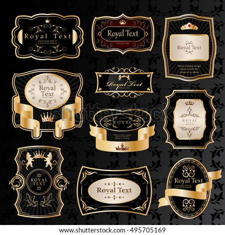 Golden Labels Set - Isolated On Black Background - Vector Illustration, Graphic Design. For Web,Websites,Print,Presentation Templates,Mobile Applications And Promotional Materials