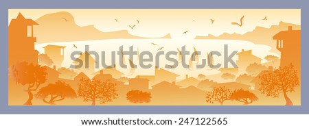 Golden landscape with small town, with sailboats and seagulls flying - stock vector