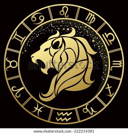 golden leo zodiac sign vector illustration stock vector 222214381