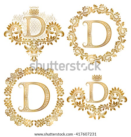 Golden letter D vintage monograms set. Heraldic coats of arms and round frames. - stock vector