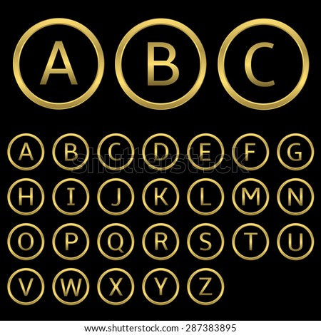 Golden letters with golden round frames. English alphabet, vector illustration - stock vector