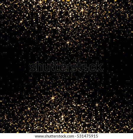 Golden light effect. Star burst light with golden sparkles. Bokeh defocused background. Vector illustration on transparent.