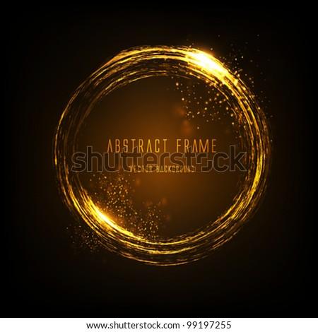 Golden light effects frame. Vector - stock vector