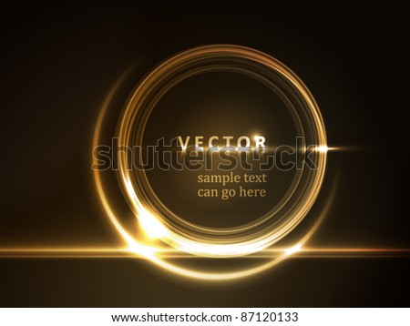 Golden light effects on round placeholder for your text on dark brown background. - stock vector
