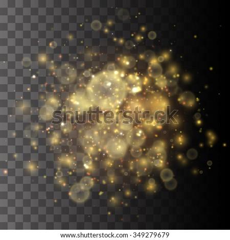Golden Lights Vector Background. Christmas Lights Concept - stock vector