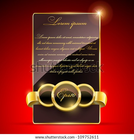 Golden luxury label on red background(vector stickers) - stock vector