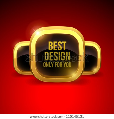 Golden luxury label on red silk background(vector stickers)