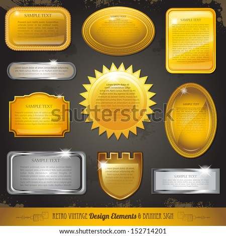 Golden luxury labels and banners collection set eps 10 - stock vector