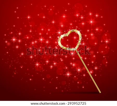 Golden magic wand with heart on red sparkle background, illustration. - stock vector