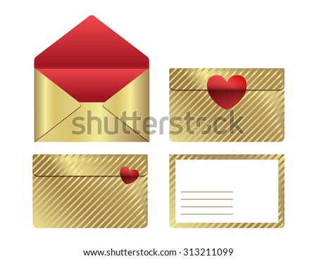 Golden mail envelope - stock vector