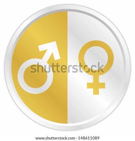 Golden male and female icon - stock vector