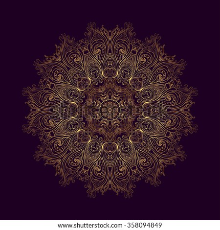 Golden mandala. Vector pattern in Eastern style. Ornamental lace pattern for design in tribal and boho styles. Traditional golden decor on purple background. - stock vector