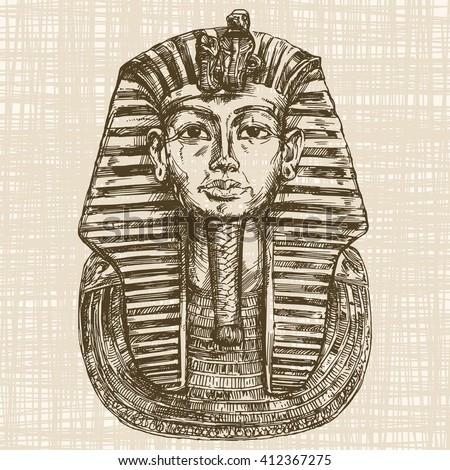 Golden mask of Egyptian pharaoh. - stock vector