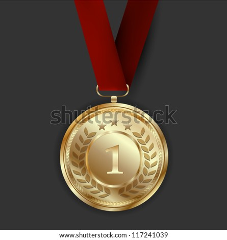 Golden Medal Award - stock vector