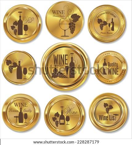 Golden medal wine design - stock vector