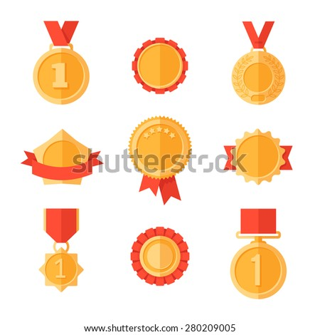 Golden medals. Gold awards with ribbons and framing. - stock vector