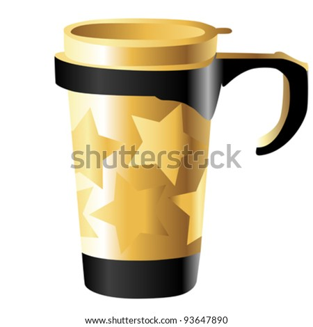 golden metal cup with stars isolated on white - stock vector