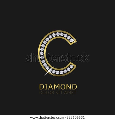 Golden metal letter C logo with diamonds. Luxury, royal, wealth, glamour symbol. Vector illustration - stock vector
