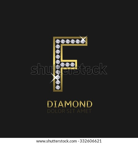 Golden metal letter F logo with diamonds. Luxury, royal, wealth, glamour symbol. Vector illustration - stock vector