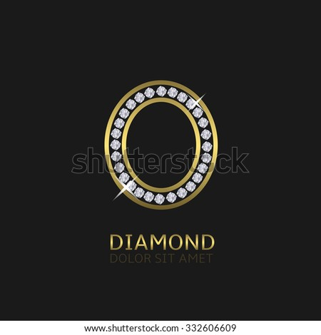 Golden metal letter O logo with diamonds. Luxury, royal, wealth, glamour symbol. Vector illustration - stock vector