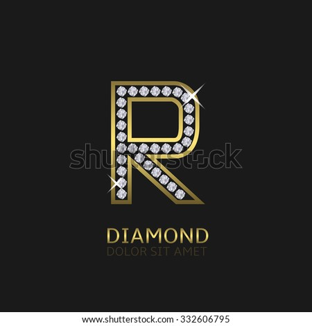 Golden metal letter R logo with diamonds. Luxury, royal, wealth, glamour symbol. Vector illustration - stock vector
