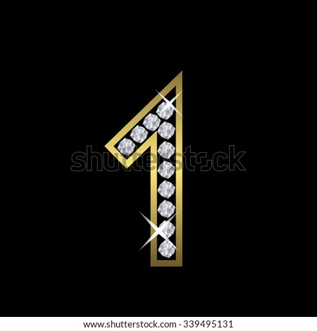 Golden metal number one sign with diamonds. Luxury, royal, wealth, glamour symbol. Vector illustration - stock vector