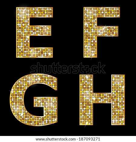 Golden metallic shiny letters E, F, G, H  - stock vector