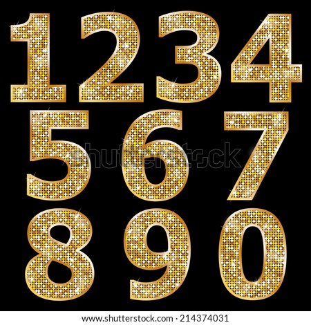Golden metallic shiny numbers  - stock vector