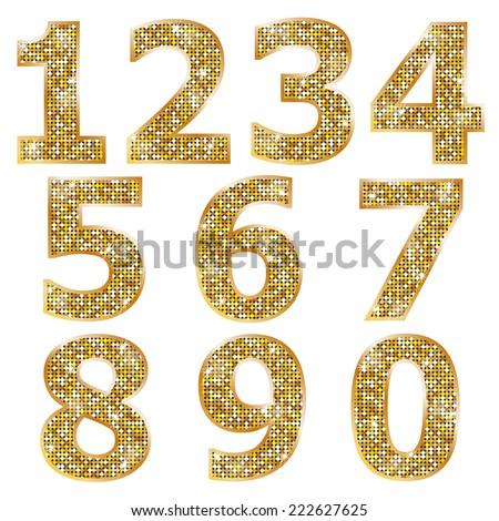 Golden metallic shiny numbers  - stock vector