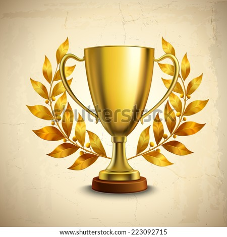 Golden metallic trophy cup first place winner award with laurel wreath vector illustration - stock vector