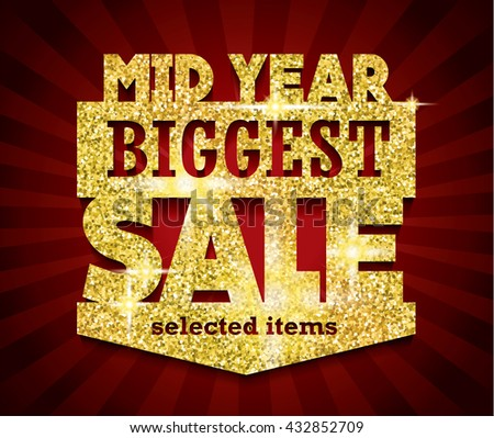 Golden Mid Year Biggest Sale concept vector banner. sale layout design. rich and fashion vector illustration - stock vector