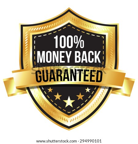 Golden 100% Money Back Guaranteed Shield with Gold Ribbon - stock vector