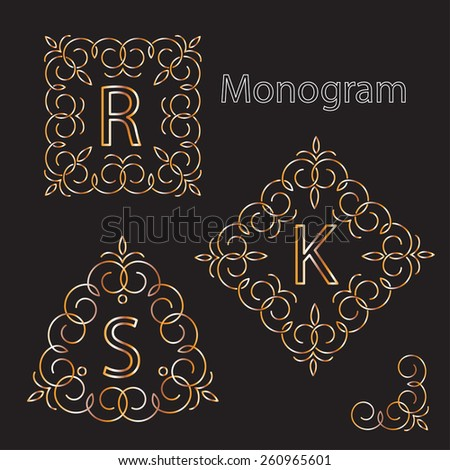 Golden Monogram Logos Set
