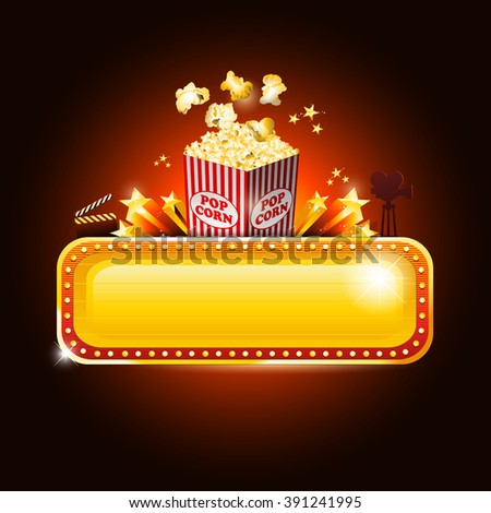 Golden movie theater banner sign with pop corn and copy space - stock vector