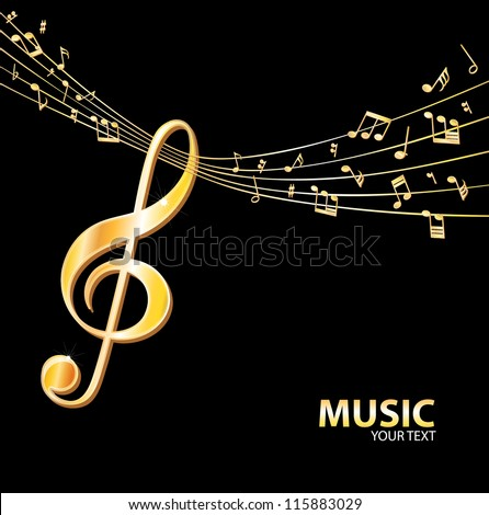 Golden music background - stock vector