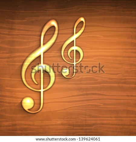 Golden musical notes on wooden background. - stock vector