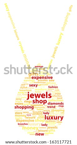 Golden Necklace With Gold Pendant Word Cloud Concept - stock vector