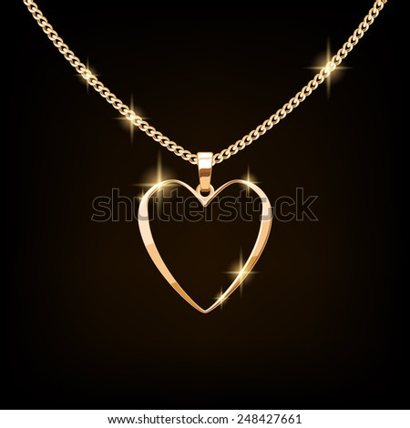 Golden necklace with heart on chain. Valentine's day gift. - stock vector