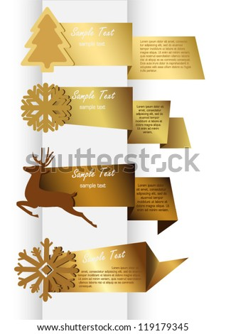 golden new year's banners - stock vector