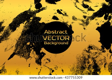 Golden on black abstract painted marble illustration. Watercolor spot background. Brush splash vector art. Vector with paper marbling textures. Black and gold colors.