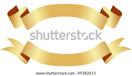 Golden (or yellow) ribbon banners. Vector illustration, isolated on a white.