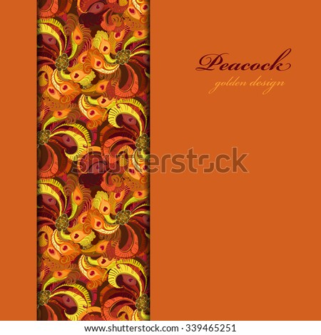 Golden orange and red peacock feathers. Vertical border design. Vertical strip of feathers pattern background. Text place. Vector illustration. - stock vector