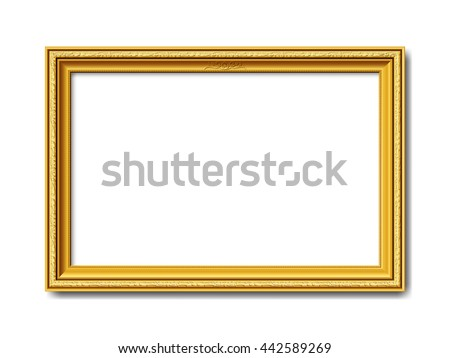 golden ornamental vintage style vector frame isolated on white background - stock vector