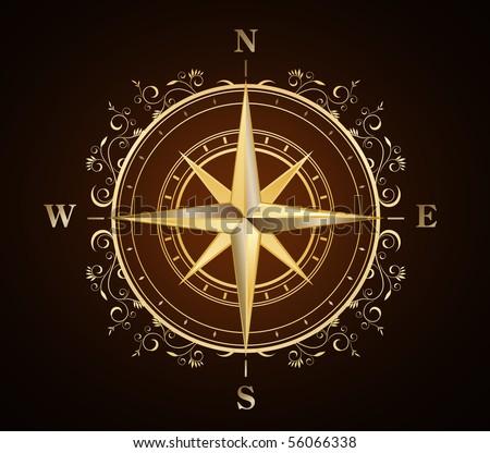 golden ornate compass rose - stock vector