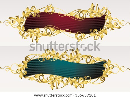 Golden ornate decorative banners - stock vector
