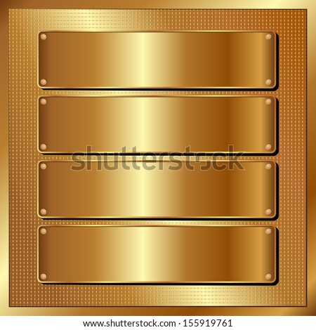 golden panel with four banners - stock vector