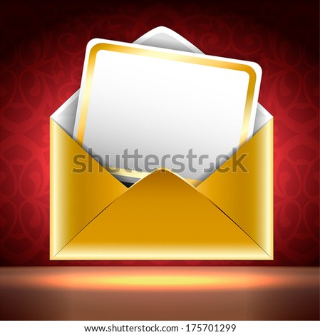 Golden paper envelope with a postcard on black and red background with patterns. Holiday invitation. Square vector illustration.   - stock vector
